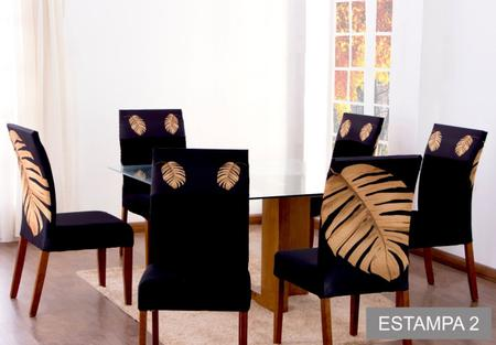 Imagem de Kit Capa de Cadeira 4 Lugares Ajustável Cozinha Paris