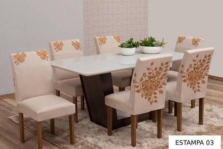 Imagem de Kit Capa de Cadeira 6 Lugares Estampada Para Mesa de Cozinha