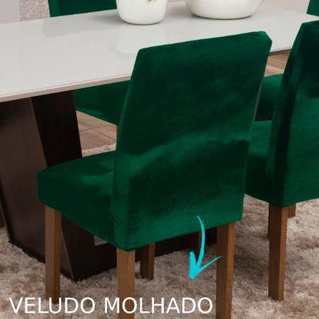 Imagem de Kit capa de cadeira em veludo cozinha 4 peças várias cores