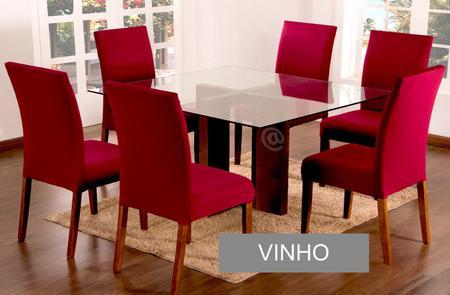 Imagem de Kit Capa de Cadeira Estofada 8 Lugares Sala de Jantar Lisa