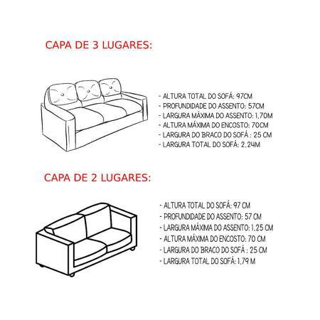 Imagem de Kit Capa de Sofá 2 e 3 Lugares Diversas Sala Moderna Dália