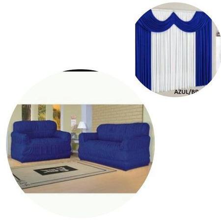 Imagem de Kit Capa De Sofá Elasticada 2 E 3 Lugares + Cortina 2,00 Metros Azul