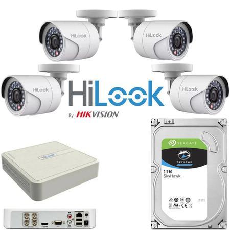 Imagem de KIT CFTV 4 Câmeras Bullet 1mp B110C HD 1Tb Seagate Skyhawk DVR Gravador HiLook FHD 4 Canais 104G K1