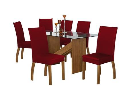 Imagem de Kit com 06 Capas de Cadeira Coladinha em Malha Gel Vermelho