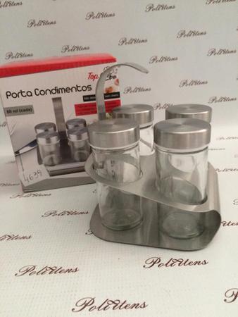 Imagem de Kit Conjunto De 5 Porta Condimento + Suporte Aço Top Chef