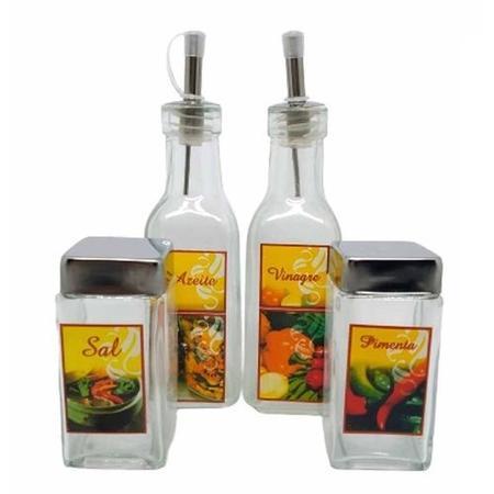 Imagem de Kit Galheteiro de Mesa 4 Peças de Vidro Sal Azeite Vinagre Pimenta - Wincy