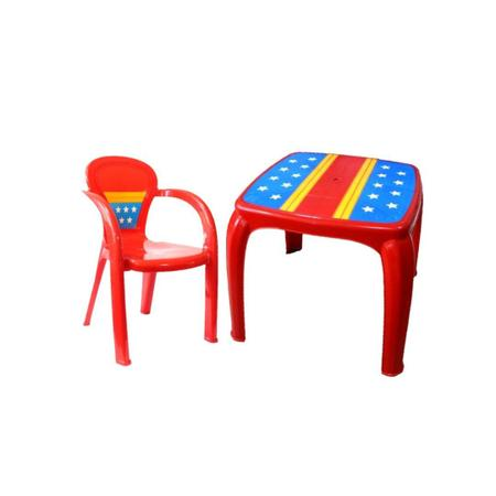 Imagem de Kit mesa cadeira infantil plástico usual decorada guerreira