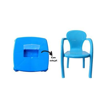 Imagem de Kit mesa infantil com estojo e cadeira infantil azul usual