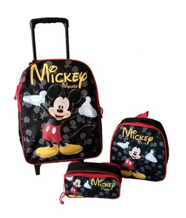 Imagem de Kit Mochila Mickey Mouse Escolar Rodinhas