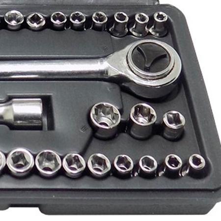 Imagem de Kit Parafusadeira a bateria 4,8V com 4 bits + Jogo de soquete sextavado encaixe 1/ - Goodyear