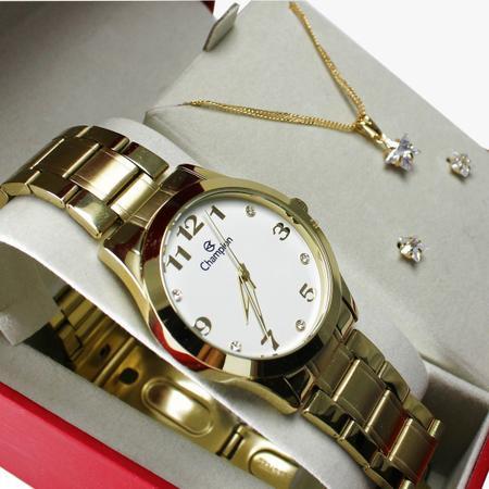 Imagem de Kit Relógio Champion Elegance Feminino Cn29070w