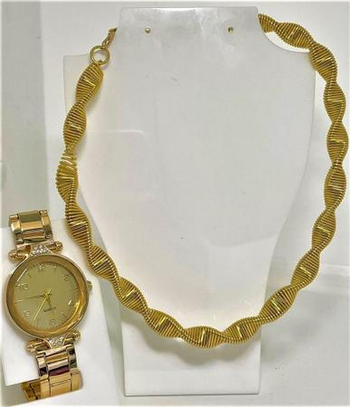 Imagem de Kit Relógio Dourado Feminino + Colar Entrelaçado Dourado Folheado - Presente Namorados