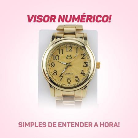 Imagem de Kit Relógio Feminino Analógico Dourado + Pulseira