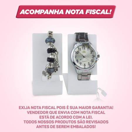 Imagem de Kit Relógio Feminino Analógico Pulseira em Aço + Pulseira
