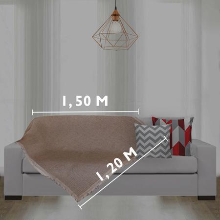 Imagem de Manta para Sofá 100%Algodão 1,20m x 1,50m Xale Bege Casa Dona