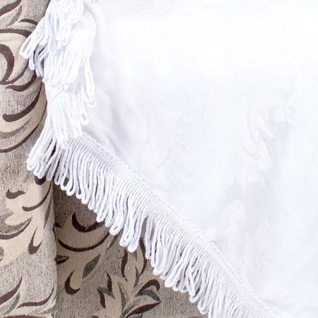 Imagem de Manta para Sofá Branca 1,50m x 1,50m Jacquard Medalhão