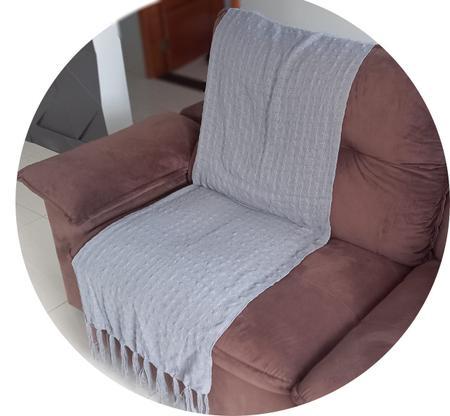 Imagem de manta para sofá cinza claro xale protetor sofa artesanal em algodão Acessórios Teodoro