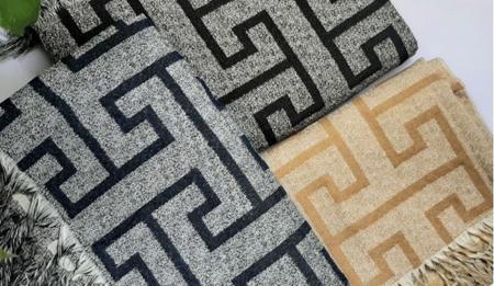 Imagem de Manta Para Sofa Decorativo Com Franja 3 lugares Creta Preta Love4Home