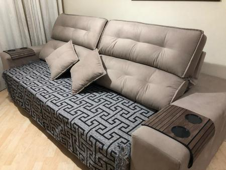 Imagem de Manta Para Sofa Decorativo Com Franja 3 lugares  Preta Creta