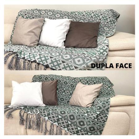 Imagem de Manta Para Sofa Decorativo Com Franja verde