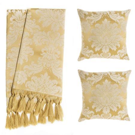 Imagem de Manta para Sofá Dourado Tradicional + 2 Capas De Almofadas
