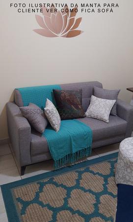 Imagem de Manta para sofa Xale chale poltrona Protetor Sofá turquesa peseira