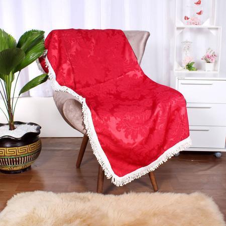 Imagem de Manta Sofá Decorativo Vermelho Jacquard 1,50m x 1,50m com Franja