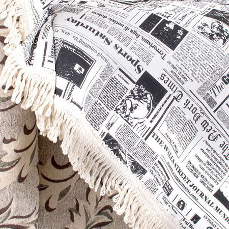 Imagem de Manta Sofá Jornal 2,30m x 1,50m Estampada Decorativo Jacquard
