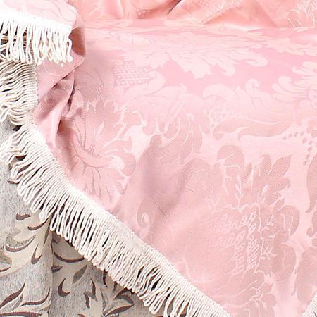 Imagem de Manta Sofá Rosê Lisa 2,30m x 1,50m com Franja Tecido Jacquard