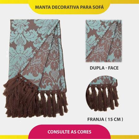 Imagem de Manta Xale Decorativa Para Sofá Bege 2,40m x 1,80m