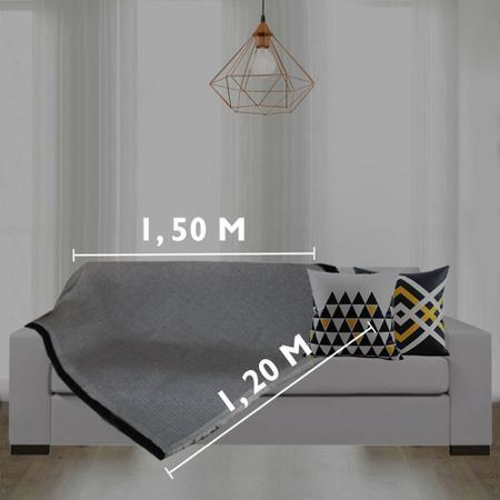 Imagem de Manta Xale Para Sofá 100% Algodão 1,20Mx1,50M Preto Casa Dona