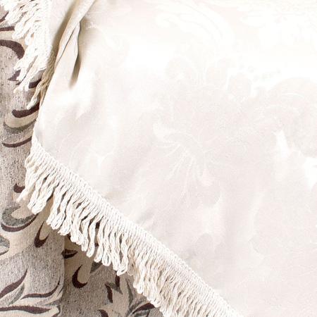Imagem de Manta Xale para Sofá Bege 2,30m x 1,50m Jacquard Decorativo