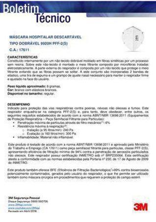 Imagem de Máscara 3M 9920H - PFF2 Hospitalar