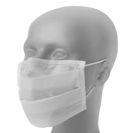 Imagem de Máscara Branca Três Camadas TNT Elástico Clipe Nasal 20un