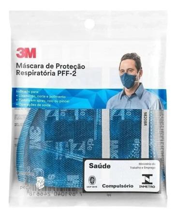 Imagem de Máscara de Proteção Respiratória Dobrável 3M 9820+BR PFF-2(S) com 10 unidades