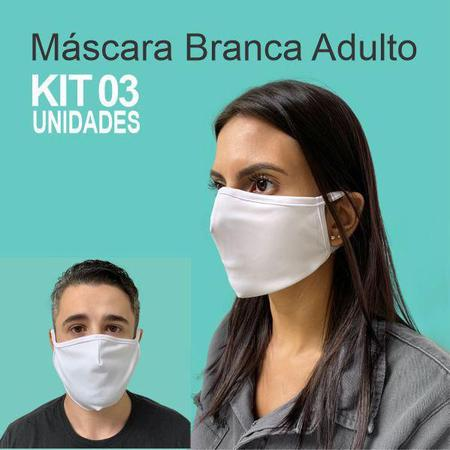 Imagem de Mascara de tecido lavavel branca adulto  kit 3 unid.  ba3