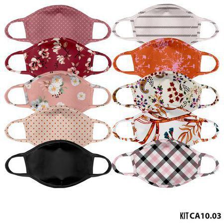 Imagem de Mascara de tecido lavavel estampada adulto  kit 10 unid.  ca10.03