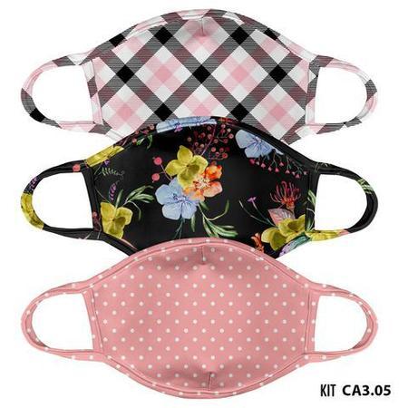 Imagem de Mascara de tecido lavavel estampada adulto  kit 3 unid.  ca3.01