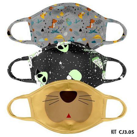 Imagem de Mascara de tecido lavavel estampada juvenil  kit 3 unid.  cj3.05
