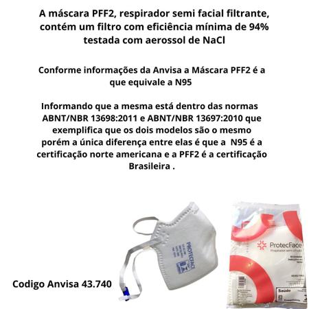 Imagem de Mascara PFF2 s/válvula  c/10 unidades Branca