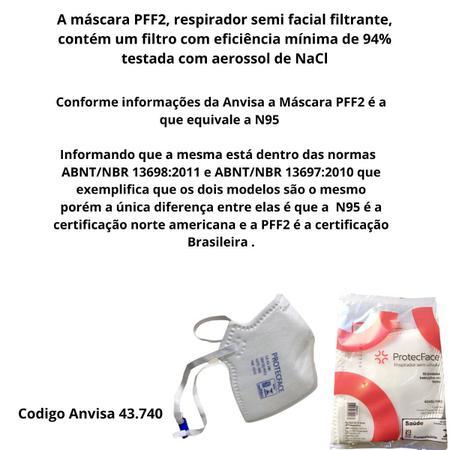 Imagem de Mascara PFF2 s/válvula  c/3 unidade Branca