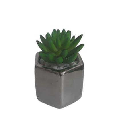 Imagem de Mini arranjo com vaso de cerâmica prateado com suculentas de silicone