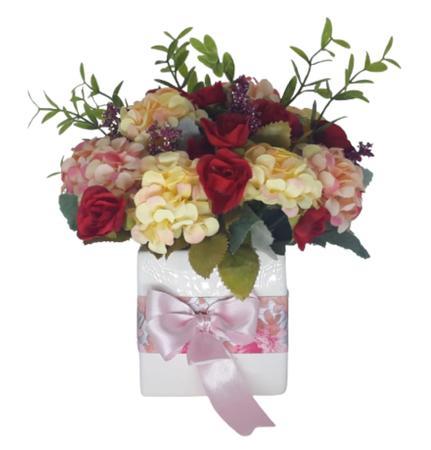 Imagem de Mini arranjo vaso cerâmica branco com flores mescladas