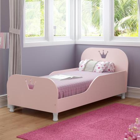 Imagem de Mini Cama Realeza com colchão 150cmx70cm 100% MDF Multimóveis Rosa