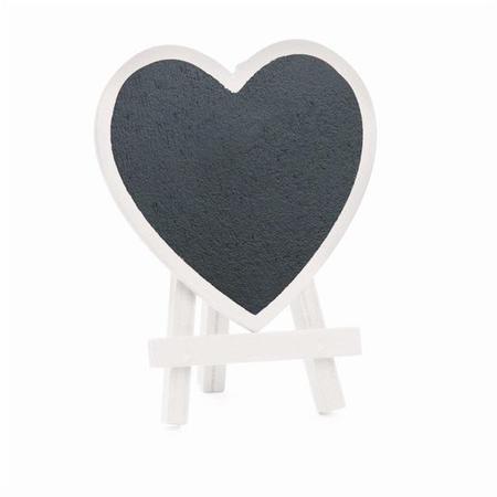 Imagem de Mini Cavalete com Lousa Coração Branco - 3 Peças