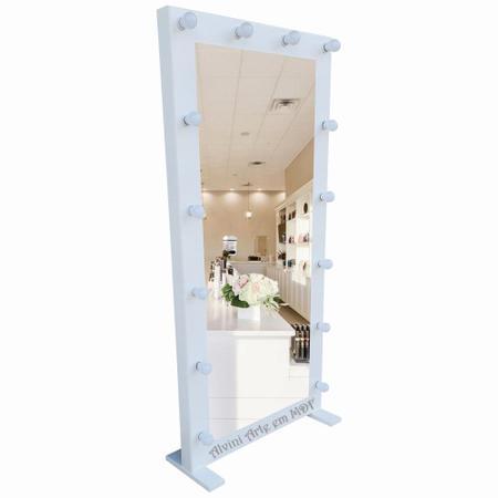 Imagem de Moldura de Espelho Camarim Mayra 1,70m Corpo Inteiro com Pé Branca