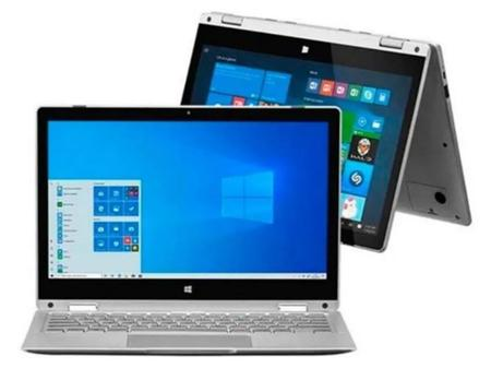 Imagem de Notebook 2 em 1 com função Tablet M11W Prime, com Windows 10 Home, Intel Pentium Quad Core, 4GB RAM, 64GB eMMC, 11,6 Pol., Prata, Multilaser - PC302