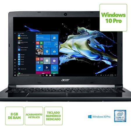 """Imagem de Notebook Acer Aspire 5 A515-51-735N Intel Core i7-7500U Memória RAM de 8GB HD de 1TB Tela de 15.6"""" HD Windows 10 Pro"""