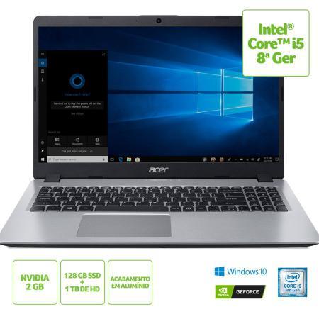 Imagem de Notebook Acer Aspire 5 A515-52G-50NT Intel Core i5-8265U 8ª geração RAM de 8 GB SSD de 128 GB HD de 1TB GeForce MX130 2GB 15.6'' HD Windows 10