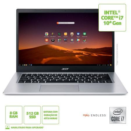Imagem de Notebook Acer Aspire 5 A515-54-72KU Intel Core i7 10ª Gen 8GB 512GB SDD 15,6' Full HD Endless